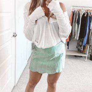 Reformation Abigail Suede Mini Skirt Chlorophyll 6